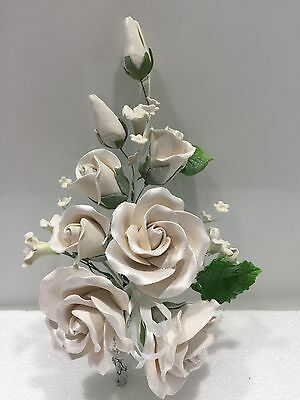 Pearl Wedding Roses Engagement Anniversary Edible Cake Topper Cake Decorations