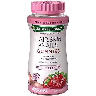 Natures Bounty Optimal Solutions Hair, Skin And Nails Gummies 80 Count