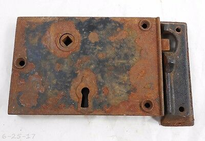Large Antique Cast Iron Carpenter Rim Surface Door Lock With Keeper