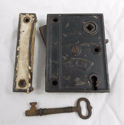 Antique Cast Iron 1859 BLW Rim Surface Door Lock - Key - Keeper