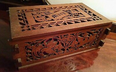 Antiqu Wood Box Finger Joint Foot Treadle Jigsaw Mary Sewing Document Tea Caddy
