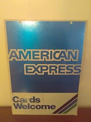 Rare Vintage 1989 American Express Double Sided Sign  #21629 Original Aluminum