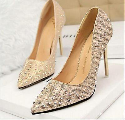 Fashion Glitter Crystal Women High Heels Wedding And Party Dancing Shoes v345