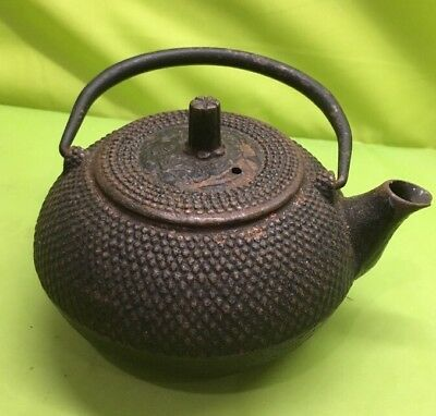 Antique Japanese Tea Ceremony Cast Iron Teapot With Lid Marked