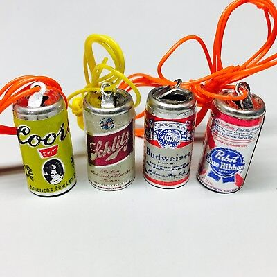 8 vintage 1970's beer can charms (2 Budweiser, 2 PBR, 2 Schlitz & 2 Coors) NOS