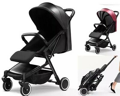 IN STOCK - Deluxe Leather Compact Travel Stroller Pram Baby Easy Fold Light
