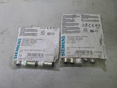 SIEMENS - LED REPLACEMENTS - Bulk Lot 0f 14 Pieces - RED and GREEN - 3SB3901-1CA