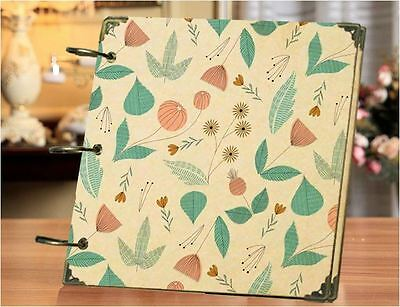 DIY 30 Black Pages 18x18cm Green Leaf Kraft Cover 3-ring Photo Album Scrapbook
