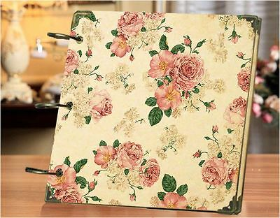 DIY 30 Black Pages 18x18cm FLOWER Kraft Cover 3-ring Photo Album Scrapbook