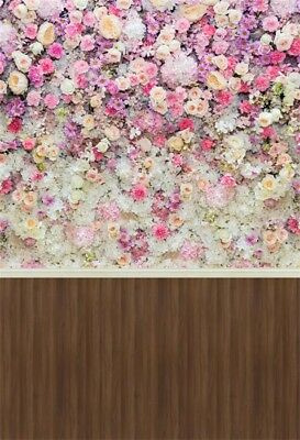 Rose Flower Wall Wedding Vinyl Backdrop Print 5x7ft Photography Background