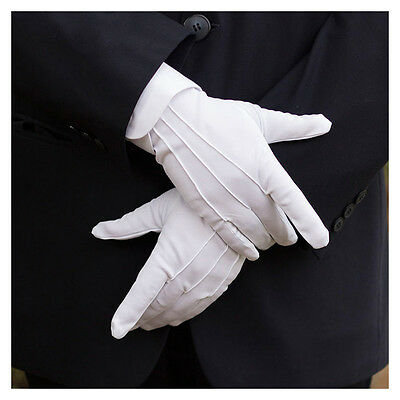 5 Pair White Tuxedo Honor Guard Formal Gloves Parade Serve Inspection Gloves Set
