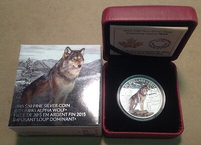 2015 Canada $20 1 Oz Fine Silver Coin Imposing Alpha Wolf with Box and COA