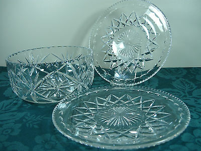 Crystal Bowl & 2 Plates
