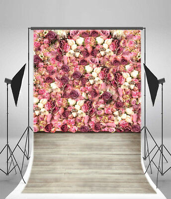 Rose Flower Wall Photography Backdrop Vinyl 5x7ft Background Studio Props