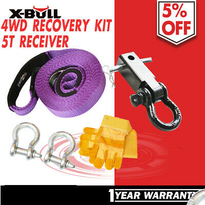 X-BULL Recovery Kit 6PCS Strap Bow Shackle Gloves Hitch Receiver Winch 4X4  4WD