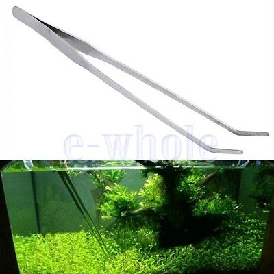 27cm Aquarium Fish Tank Stainless Steel Curved Long Tongs Live Plant Tweezers TW