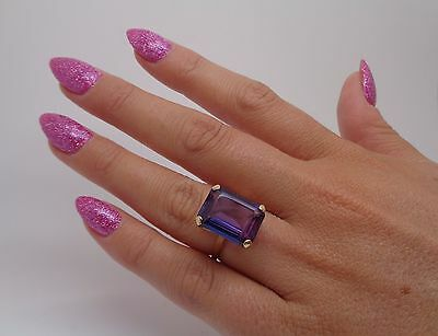 Stunning rare Art Deco 14 carat violet blue Sapphire ring in 9ct gold L½ 5.7g