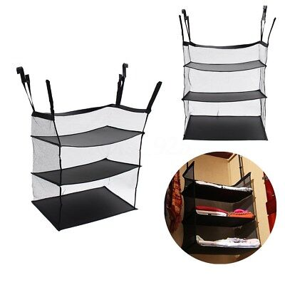 3 Layers Collapsible Hanging Organizer Closet Holder Clothes Storage Bag Shelves