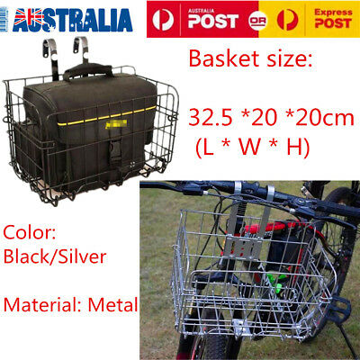 Foldable Bike Basket Bicycle Solid Extra Storage Front Baskets Black/Sliver