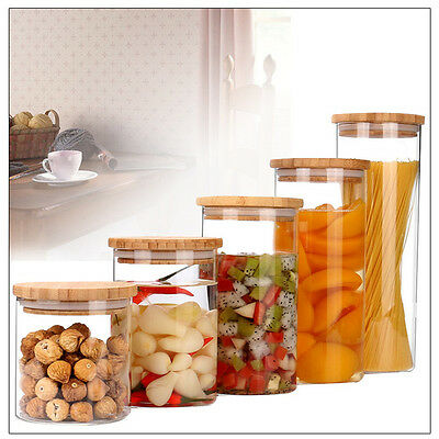 Glass Mason Preserving Jar Candy Storage Bottle With Bamboo Lid Spice Containers