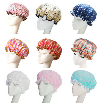 3# Women Shower Caps Colorful Bath Shower Hair Cover Adults Waterproof Bathing