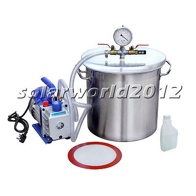 5 Gallons Stainless Steel Vacuum 1/3HP 2.5CFM Vacuum Pump Degassing Silicone Kit