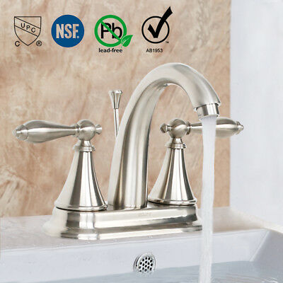 4 Inch centerset Bathroom Faucet Brushed Nickel 2 Handle Lavatory W/ Drain Brass