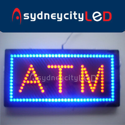 ATM Sign LED Bright Animated Flashing LED Open Sign Store Window Neon 60x30cm