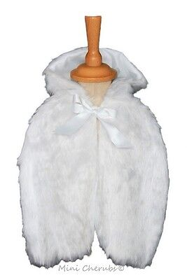 Baby Girls White Faux Fur Shrug Cape Christening Occasion 12-18 Months