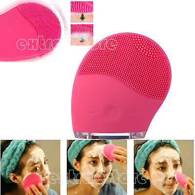 Recharging Silicone Electric Brush Facial Cleansing Face Care Skin Massage AU