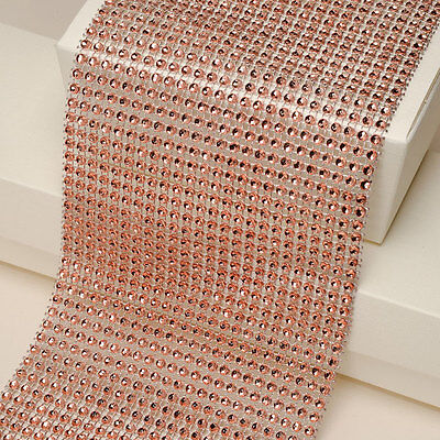 Copper Diamante Rhinestone Effect  Acrylic Mesh Cake Trim Ribbon