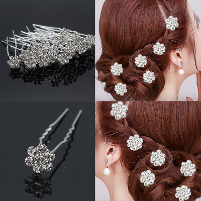 20 X Hair Pins Clips Diamond Flower Diamante Crystal Wedding Bridal Party Grips