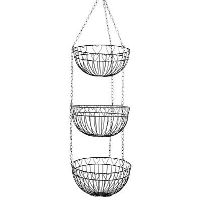 3 Tier Hanging Fruits Vegetables Bowls Basket Kitchen Food Rack Caddy Storage