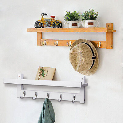 Coat Floating Shelf with 5 Hook Wall Mounted Rail Rack Display Storage Organiser