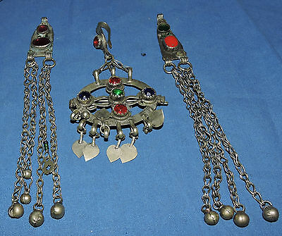 3 vintage kuchi pendants. set with glass sections and hanging bells. large pen