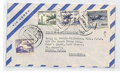 AN314 1958 CHILE AIRMAIL Santiago Cover London $200 High Value Mixed Franking