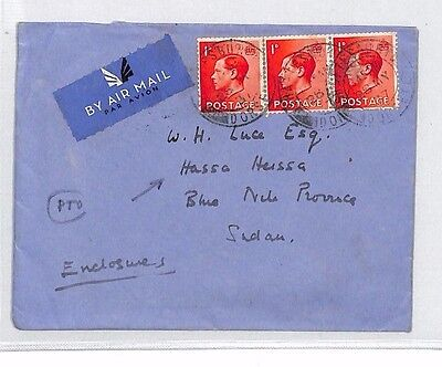 AN344 1936 GB KEVIII FRANKING Shaftesbury Air Cover UPPER NILE *Hassa Heissa*CDS
