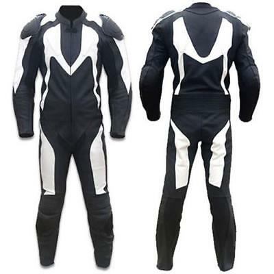 Classic White and Black Motorcycle Leather Suit (Custom Sized)