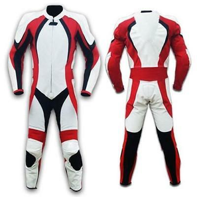 Womens Red, White and Black Motorcycle Leather Suit (Custom Sized)