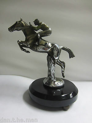 Charles Paillet Chrome Plated Horse Racing Car Mascot Mounted On Plinth