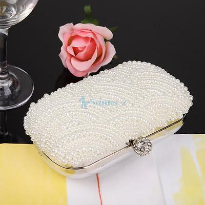 Handmade Beaded Pearl Evening Bag Clutch Crystal Purse Party Wedding Bag