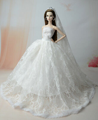 Fashion Royalty Princess Dress/Clothes/Gown+veil with Crown For Barbie Doll S540