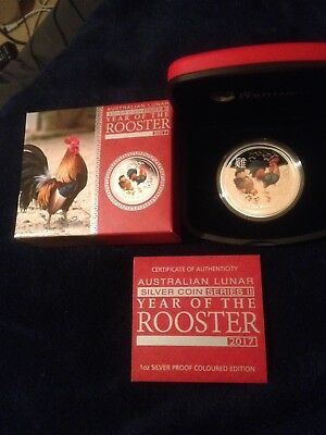 2017 1 Oz Silver Coloured Proof Year Of The Rooster - Perth Mint