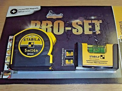 Stabila 5m / 16ft Pocket Tape & Pocket Magnetic Level Pack STBPROSET 18323