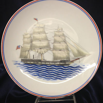 """Mottahedeh Our Maritime Heritage Luncheon Plate 9"""" Ship Massachusetts Ny"""