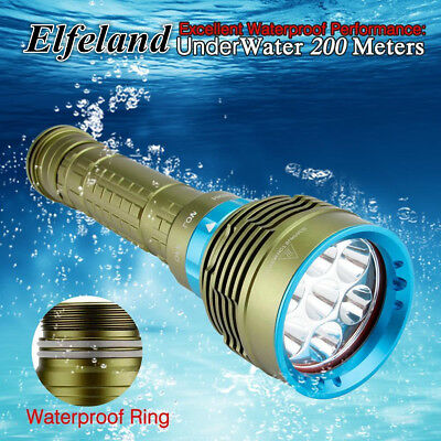 30000LM Elfeland 7x T6 Waterproof Diving Underwater Flashlight Scuba Torch Lot