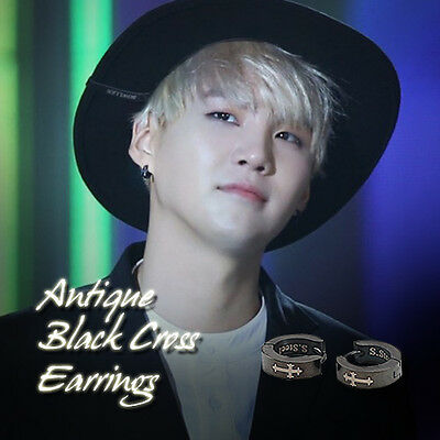 388d169e3fc20 BTS SUGA BLACK Coating Earrings Kpop Style Hot Item Made In Korea 1Pair