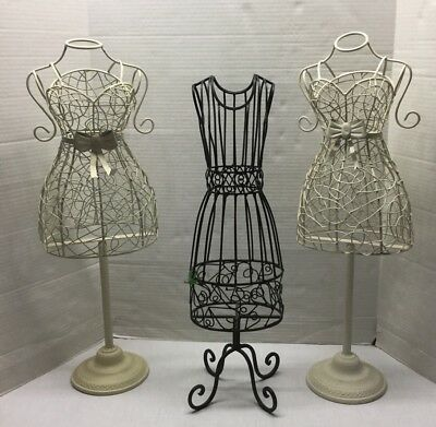 3 Large Metal Wire Boutique Mannequins - Good For Display,scarves,hats Etc