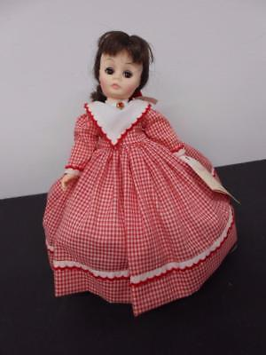 "Madame Alexander Doll Little Women Jo In Red Gingham Dress 12"" W Tag & Stand"