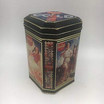 1994 Blue Coca Cola Tin Can Ladies on a horse Drinking a Bottle of Coke